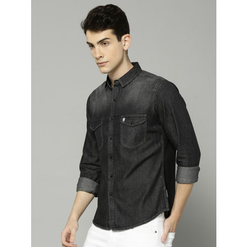 French Connection Men Black Regular Fit Solid Casual Chambray Shirt