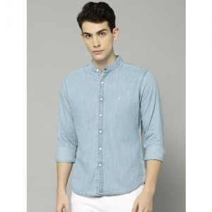 French Connection Men Blue Regular Fit Faded Casual Chambray Shirt