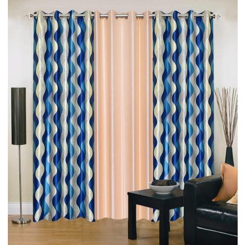 Ville Style 214 cm (7 ft) Polyester Door Curtain (Pack Of 3)(Abstract, Blue, Beige)