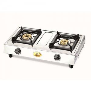 Bajaj Popular Eco Stainless Steel 2 Burner Gas Stove (Silver)