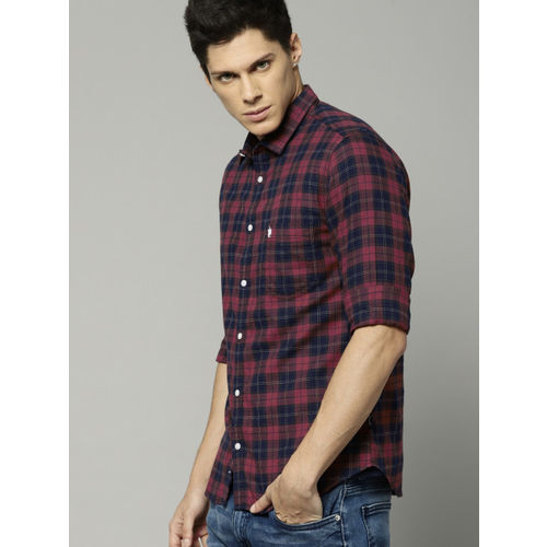 French Connection Men Red & Navy Slim Fit Checked Casual Shirt