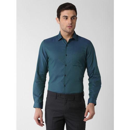 Peter England Men Green Slim Fit Self Design Formal Shirt