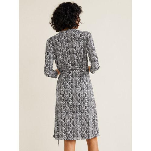 MANGO Women Grey Snakeskin Print Wrap Dress