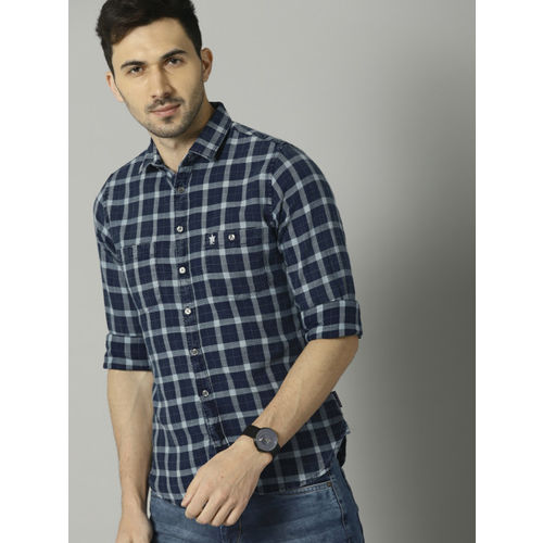 French Connection Men Blue Slim Fit Checked Casual Shirt