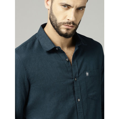 French Connection Men Navy Slim Fit Solid Casual Shirt