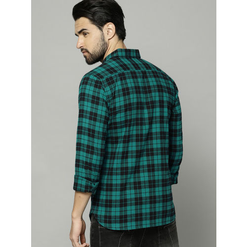 French Connection Men Green & Black Regular Fit Checked Casual Shirt
