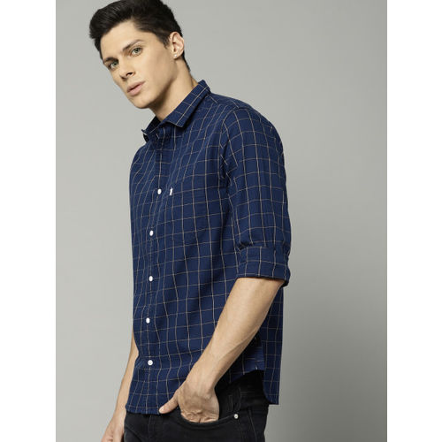 French Connection Men Navy Blue Slim Fit Checked Casual Shirt