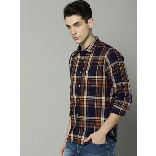French Connection Men Mustard & Navy Blue Slim Fit Checked Casual Shirt