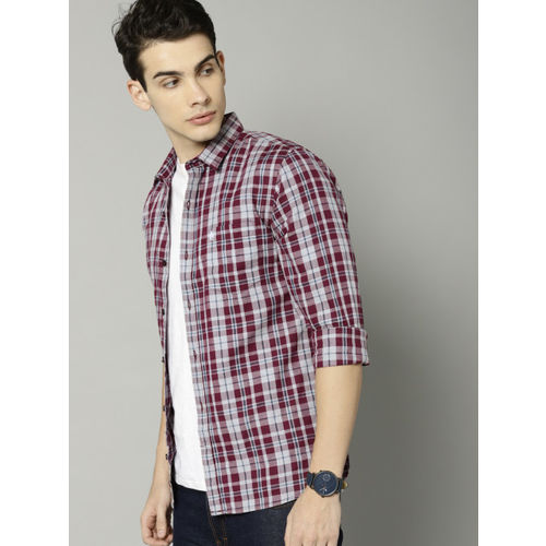 French Connection Men Maroon & Grey Regular Fit Checked Casual Shirt