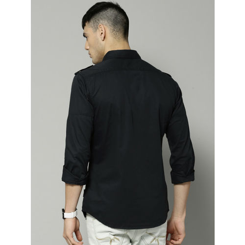 French Connection Men Navy Blue Slim Fit Printed Casual Shirt