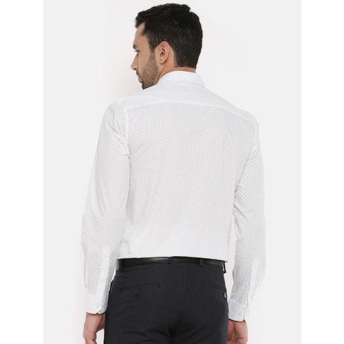 Peter England Men White Slim Fit Printed Formal Shirt