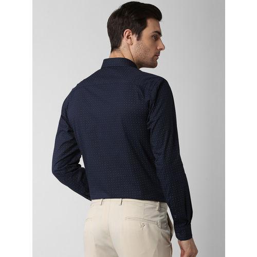 Peter England Men Navy Blue Slim Fit Printed Formal Shirt