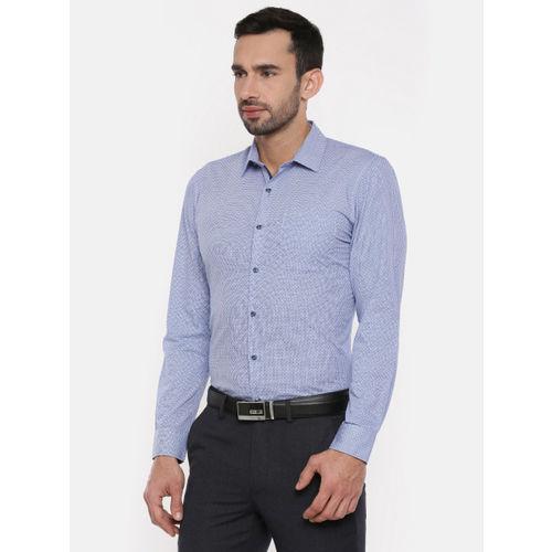 Peter England Men Blue & White Slim Fit Checked Formal Shirt