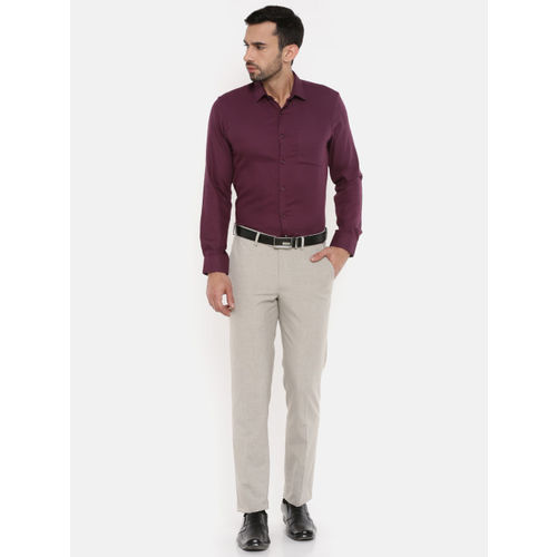 Peter England Men Maroon Slim Fit Self Design Formal Shirt