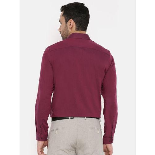 Peter England Men Maroon Slim Fit Self-Design Formal Shirt
