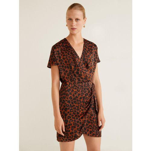 MANGO Brown & Black Animal Print Wrap Dress