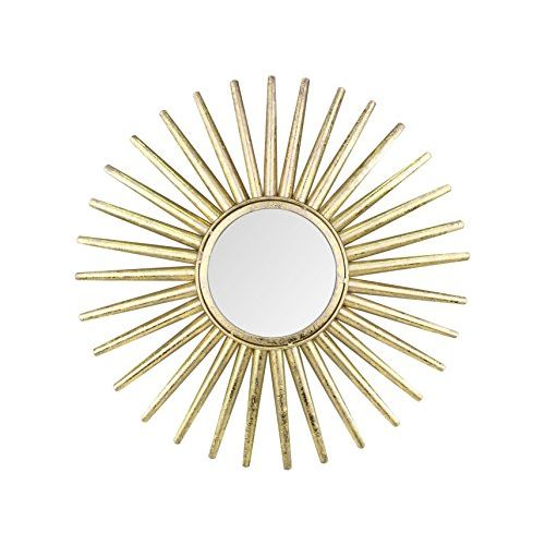 Hosley 21.25In Sun Shape Golden Foil Polish Wall Mirror