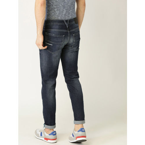 United Colors of Benetton Men Navy Blue Slim Tapered Fit Low Distress Stretchable Jeans