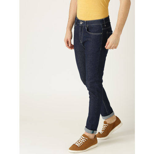 United Colors of Benetton Men Navy Blue Carrot Fit Mid-Rise Clean Look Stretchable Jeans