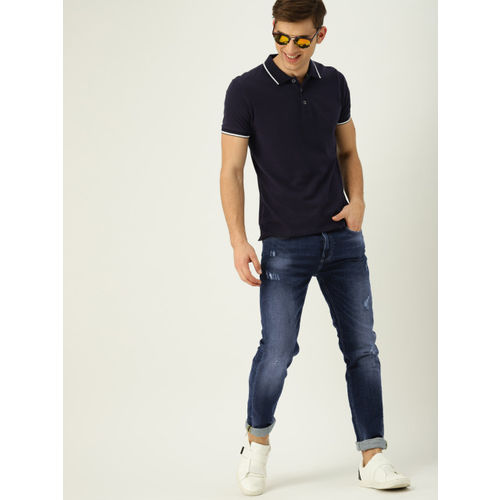 United Colors of Benetton Men Navy Blue Slim Fit Mid-Rise Low Distress Stretchable Jeans