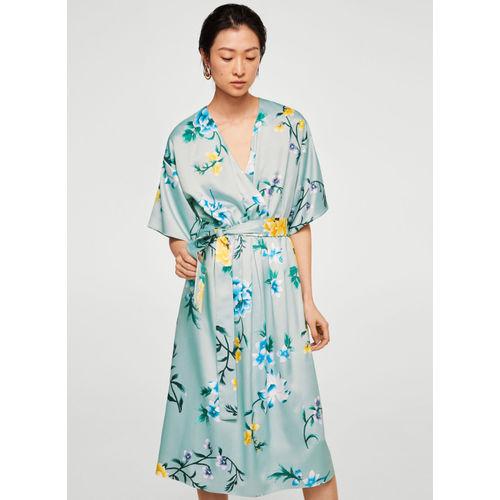 MANGO Blue Printed Wrap Dress