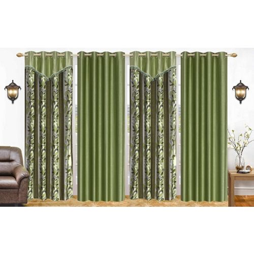 Ville Style 274 cm (9 ft) Polyester Long Door Curtain (Pack Of 4)(Floral, Green)