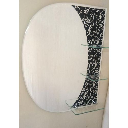 Raj Modern Frameless Decorative Mirror with 3 Shelf