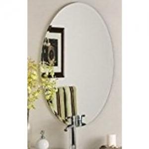 Raj ATSM Frameless Beveled Oval Decorative Wall Mirror , Size : 18 inch * 24 inch.