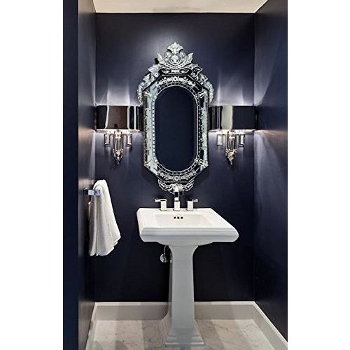 Venetian Design Glass Mirror for Wash Basin with 2 Photo Frames, Jewellery Box and a Table Clock