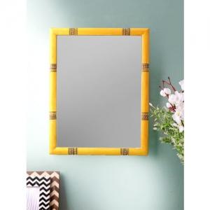 VarEesha Yellow Warli Pine Wood 18 Inch Mirror