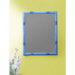 VarEesha Blue Warli Pine Wood 18 Inch Mirror