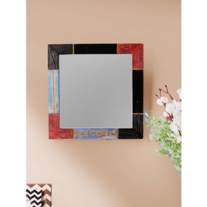 VarEesha Red Blue Engraved Mango Wood 13 Inch Square Mirror