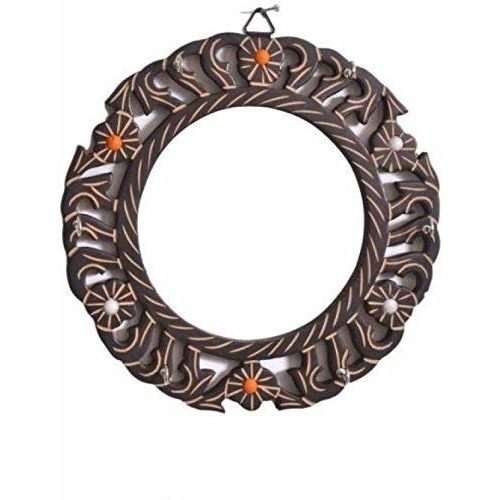 Onlineshoppee Wooden Antique Round Shaped Mirror with Key Holder