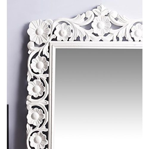 Onlineshoppee Ayna Wooden Carved Mirror - White