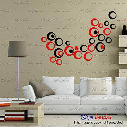 Bikri Kendra - 30 Ring 15 Black 15 Red - 3D Acrylic Wall Stickers - B07DNG7H5C