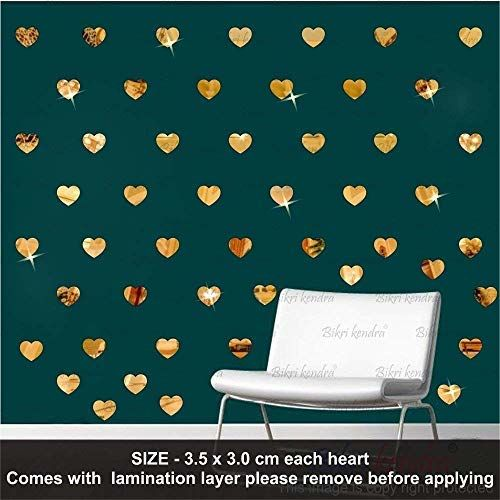 Bikri Kendra Hearts Golden 50-3D Acrylic Mirror Wall Decor Stickers For Home & Office