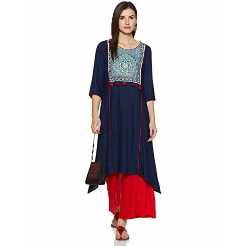 AURELIA Women Navy Blue Yoke Design A-Line Kurta