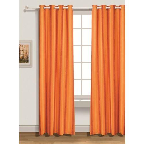 House This 210 cm (7 ft) Cotton Door Curtain Single Curtain(Solid, Orange)