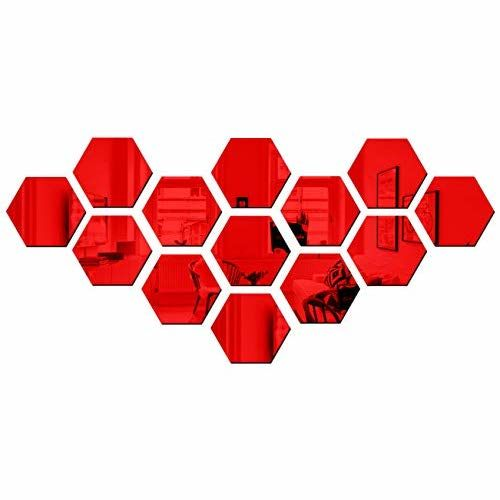 Bikri Kendra Hexagon 13 Red - 3D Acrylic Mirror Wall Decor Stickers