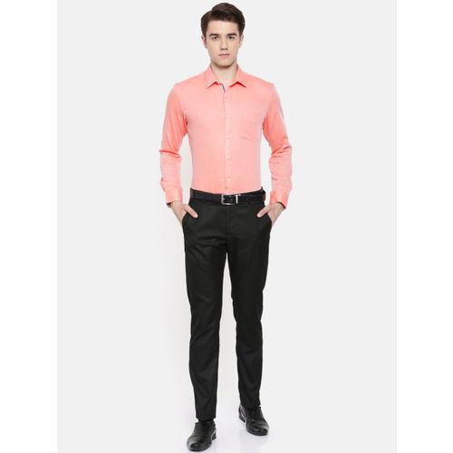 Peter England Men Pink Slim Fit Checked Formal Shirt