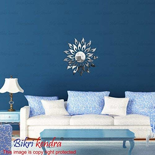 Bikri Kendra - Sun on Wall Silver - 3D Acrylic Mirror Wall Stickers - B07FJYVXXQ
