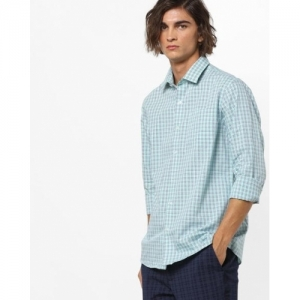 ARROW Green Cotton Slim Fit Checked with Spread Collar Casual Shirt
