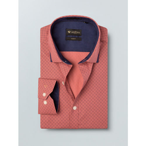 INVICTUS Men Coral Red & Navy Blue Slim Fit Printed Formal Shirt
