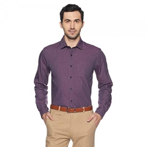 Arrow Purple Cotton Checked Slim Fit Formal Shirt