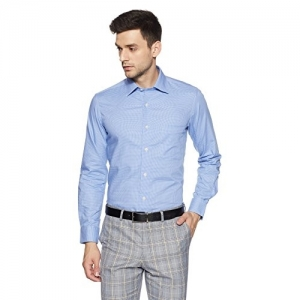 Arrow Blue Cotton Plain Regular Fit Cotton Formal Shirt