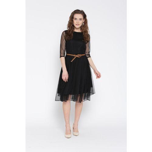 U&F Women Fit and Flare Black Dress