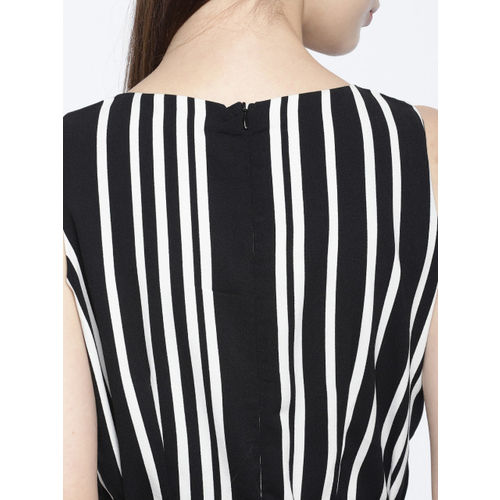 CODE by Lifestyle Black & White Striped Basic Jumpsuit