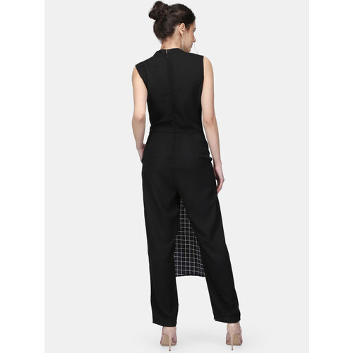 Eavan Black Checked Basic Jumpsuit