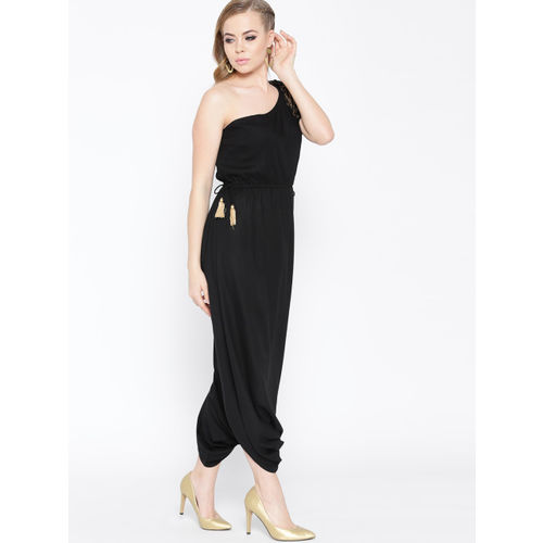 MABISH by Sonal Jain Black Solid One-Shoulder Dhoti Style Jumpsuit