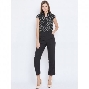 Ruhaans Black & White Printed Basic Jumpsuit